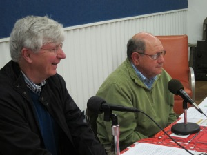 Jim Hunt and Dr. Wayne Gardner being interviewed on radions, Griffin, GA